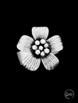 Bague en argent fleur 02