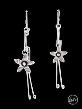 Boucles d'oreilles en argent fleurs 44