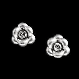 Boucles d'oreilles en argent fleurs 01