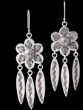 Boucles d'oreilles en argent fleur feuilles 72