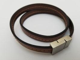 Bracelet cuir plat marron clair 2 tours
