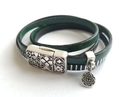 Bracelet cuir noir et vert SUR MESURE