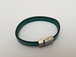 Bracelet cuir plat turquoise (M)