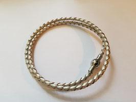 Bracelet cuir tressé argenté 2 tours