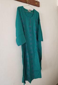 Tunique longue turquoise en soie