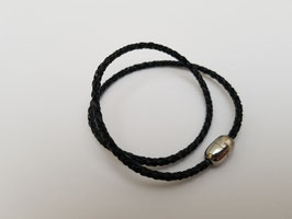 Bracelet cuir tressé noir 2 tours