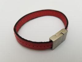 Bracelet cuir plat rouge