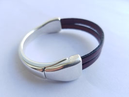 Bracelet demi-jonc et cuir marron SUR MESURE
