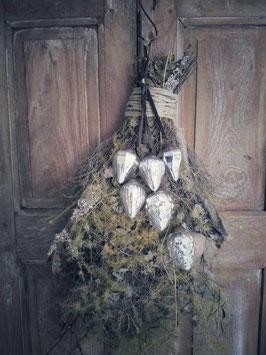 Tros met 6 zilverkleurige glazen kerst ornamenten