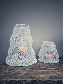 Ijzeren windlicht in metaaldraad wit (verschillende afmetingen)