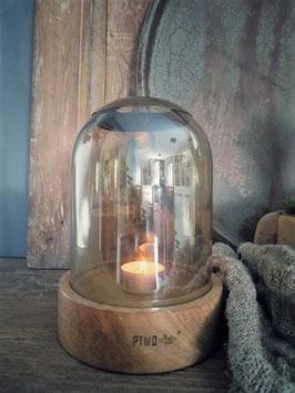 Glazen stolp met houten onderstel