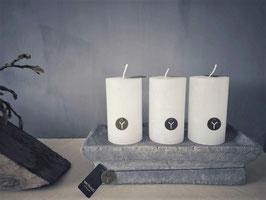 Stompkaars wit D 7 cm, H 12 cm (Rustic candle Brynxz)