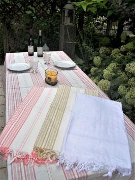 """Tafellaken met franjes """"mustard"""" Ottomania"""