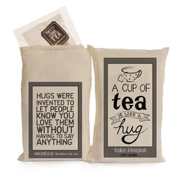 "Thee van Sakkie Kado ""A cup of tea is like a hug bag"""