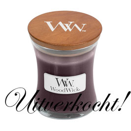 Woodwick Mini candle black plum cognac ***uitverkocht***