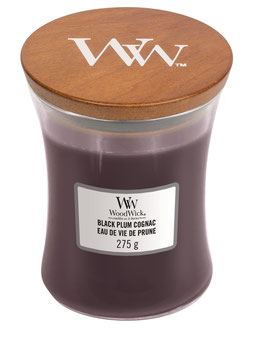 Woodwick Medium candle black plum cognac