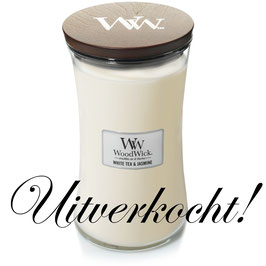 Woodwick Large candle white tea and jasmine ***uitverkocht***