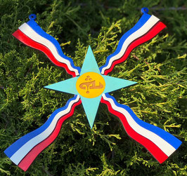 Assyrian Flag with Alaha in the center hand painted.