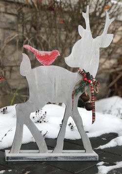 Handmade rustic Deer/ red bird Christmas decor