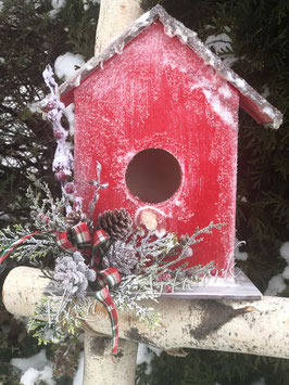 Handmade Red or White Christmas birdhouse