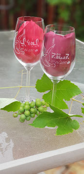 Large Personalized set of Wine Glasses - Wedding