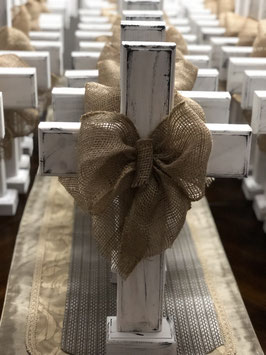 Cross with burlap Ribbon