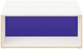 Clubtisch weiss mit Acrylglas glanz transparent dunkelblau
