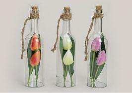 Glasflaschen mit Kunsttulpen - 3er Set