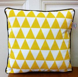 Kissen Triangle - gelb / schwarze Rand