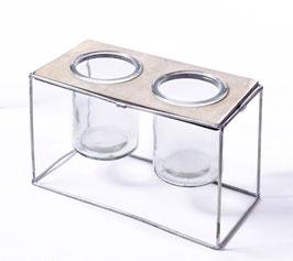 Windlichtglas Metall 2er Ser  H13cm