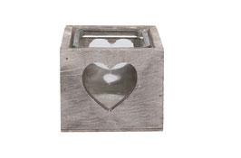 Teelichthalter mit Herz H8cm