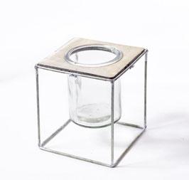 Windlichtglas Metall H13cm