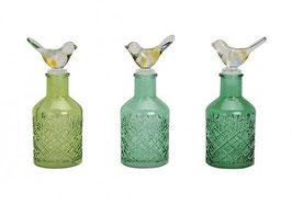 Glasflaschen mit Vogel Deckel - 3er Set
