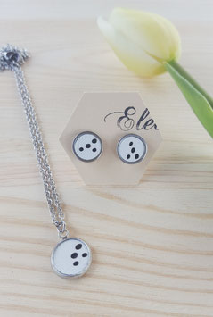"Set Ohrstecker & Kette Leder ""Hole"""
