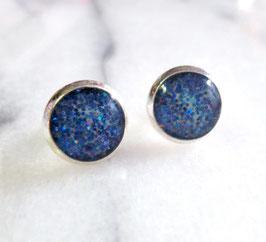 Ohrstecker Glitter-Blau (klein)