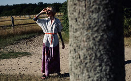 "striped maxidress with batik-skirt, saying ""I am unique"" - fits s to l, onsize (Unikat #177)"