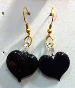 Ohrstecker Herz schwarz