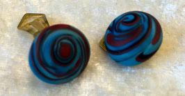 Ohrclips rot- blau