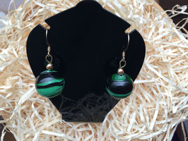PELLEGRINA Ohrringe Kugelform grün schwarz