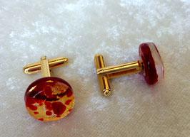 Manschettenknöpfe Rot mit Blattgold