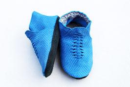 Chaussons BABOUCHES tressées bleu ecailles
