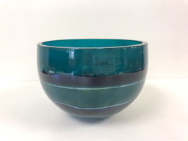 Schale klein petrol/blau Eisch - Unikat mundgeblasen