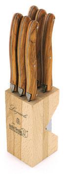 Steakmesser im 6er Set Olivenholz