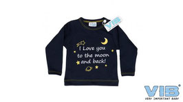 T-shirt I love you to the moon and back, donkerblauw