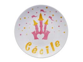 """Assiette """"Château de Princesse, coeur et étoiles"""" pour enfant en Porcelaine de Limoges"""