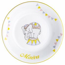 Assiette éléphant personnalisable pour enfant en Porcelaine de Limoges