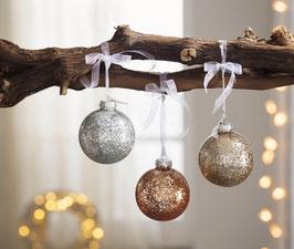 3er Set funkelnde Weihnachts Dekokugeln aus Glas