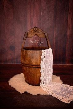 Großer Vintage Eimer für Neugeboren Fotografie helles Holz