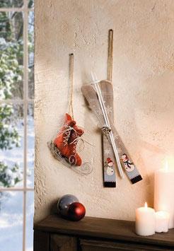 Schlittschuhe & Ski 2er Set Weihnachtsdeko
