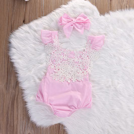 2Teiler Vintage Body für Baby Fotografie rosa